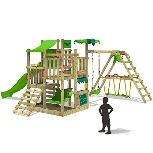 FATMOOSE BananaBeach Big XXL Spielturm Kletterturm mit Surfanbau Schaukel und Rutsche