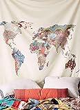 "Floral World Map Tapestry Headboard Wall Art Bedspread Dorm Tapestry,60""x 60"",Twin"
