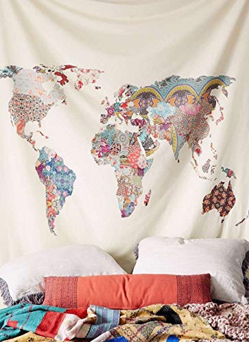 Floral World Map Tapestry Headboard Wall Art Bedspread Dorm Tapestry,60