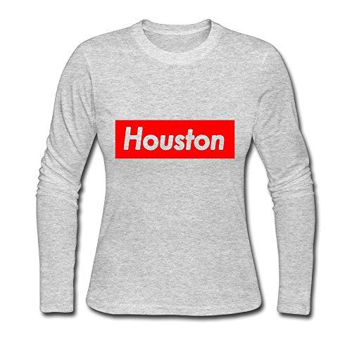 Houston 100% Cotton Women Long Sleeve Tshirt Graphic - 100 Houston