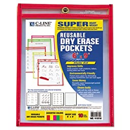 Reusable Dry Erase Pockets, 6 x 9, Assorted Neon Colors, 10/Pack, Sold as 10 Each