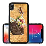 Liili Premium Apple iPhone X Aluminum Backplate Bumper Snap Case IMAGE ID: 38162940 Vintage bicycle with basket full of flowers standing in the field