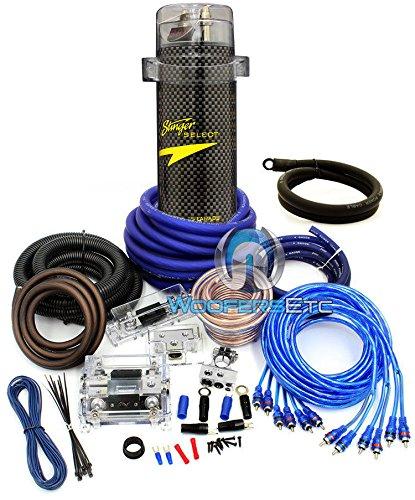 Power Pro 0 Gauge & 4 Gauge 8500 Watts 2-Way 3 RCA Amplifier Installation Kit Stinger 4 Farad Capacitor (3 250 Amp Battery 250/3)