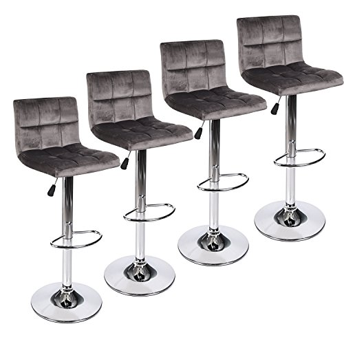 PULUOMIS Set of 4 Grey Flannel BarStools with Back, Hydraulic Adjustable Swivel Bar Stools with Chrome Base Home Kitchen Dining Chairs