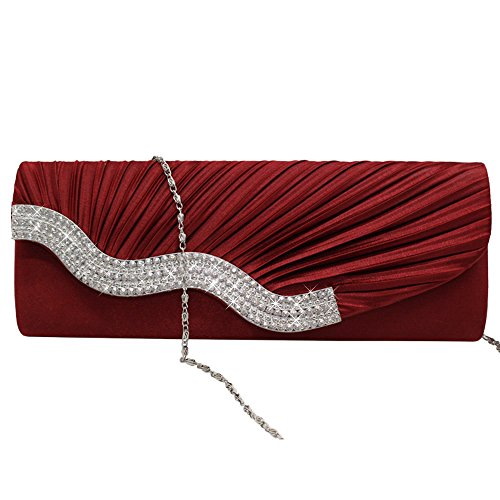 Clutch Satin Party Shoulder Cckuu Crystal Hand Handbag Wedding Black Bag Evening Purse Burgundy R4xqwHWC