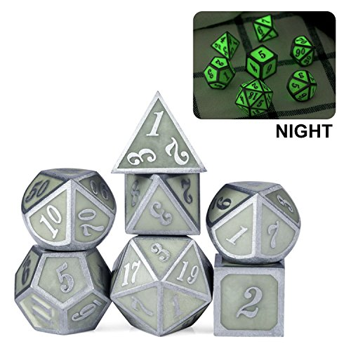 Glow in The Dark Metal Dice Set, Nicks 7 pcs Polyhedral Luminous Metallic D&D Dice for Role Playing Game, DND, Pathfinder, MTG and Table Games