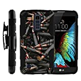 TurtleArmor | Compatible for LG K10 Case | LG Premier Case [Octo Guard] Armor Solid Hybrid Sturdy Kickstand Silicone Belt Clip Holster War Military Robot Android Design - Black Bullets