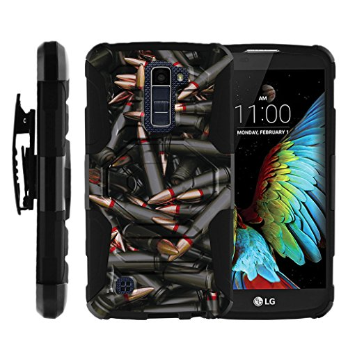 TurtleArmor | Compatible for LG K10 Case | LG Premier Case [Octo Guard] Armor Solid Hybrid Sturdy Kickstand Silicone Belt Clip Holster War Military Robot Android Design - Black Bullets by TurtleArmor