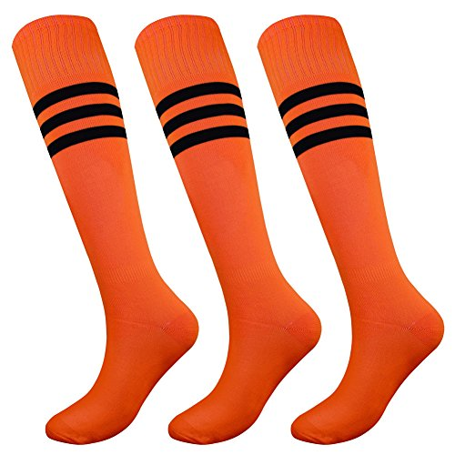 (Fitliva All Sport Socks Orange for Athletic Activities with Black Stripe (3pairs-Neon)