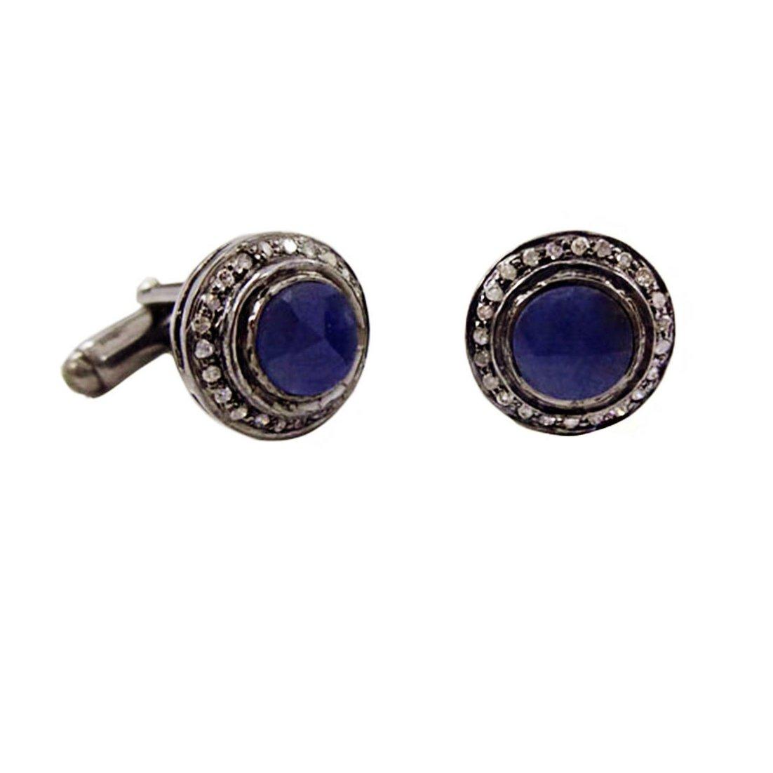 BlueSapphire Gemstone Cuffling pave Diamond wholesale Jewelry Making Supplies