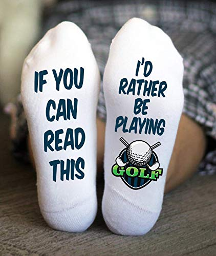 I'd Rather Be Playing Golf Socks For Men Funny Birthday Gift