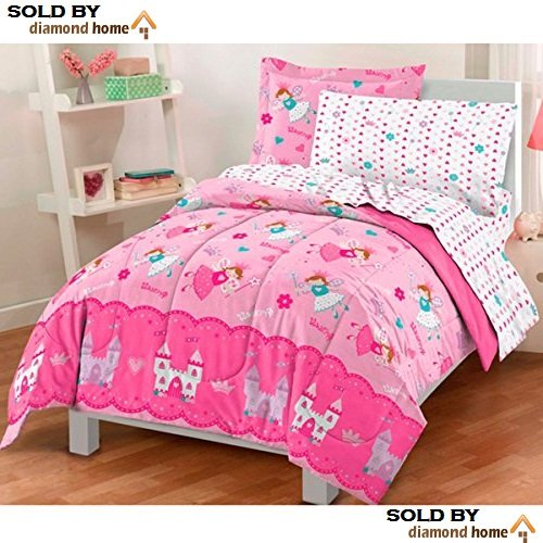 5 Piece Girls Twin Sized Magical Princess Comforter Set, Flying Fairy Tale Princesses Castles Pattern, Crowns, Hearts, Flowers, Multicolored, Pink Reversible Beautiful Pretty Cute Bright Vibrant Soft
