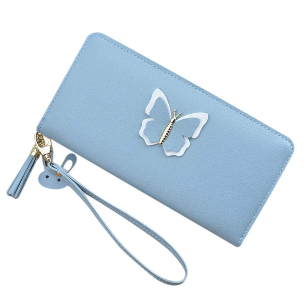 Women Long Zipper Butterfly Large Capacity Mobile Phone BagHandbags&Clutches&Evening Bags