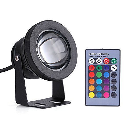 eecoo LED Underwater Light Spotlight Flood Lamp for Fountain Pond Garden Pool Landscape Outdoor Spot Light IP68 Waterproof Pond Aquarium Lamp 12V 10W(Black) by eecoo