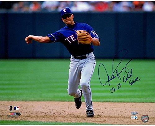 Jeter Jersey Derek Road - Alex Rodriguez Texas Rangers Road Jersey Fielding Horizontal 16x20 Photo w/ 02 03 Gold Glove Insc. (MLB Auth)