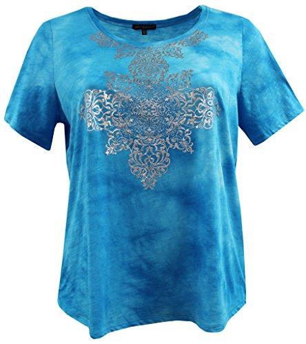 BNY Corner Women Plus Size Short Sleeve Tie Die Cotton Knit Top Tee Blouse Shirt Blue 2 X 160.50