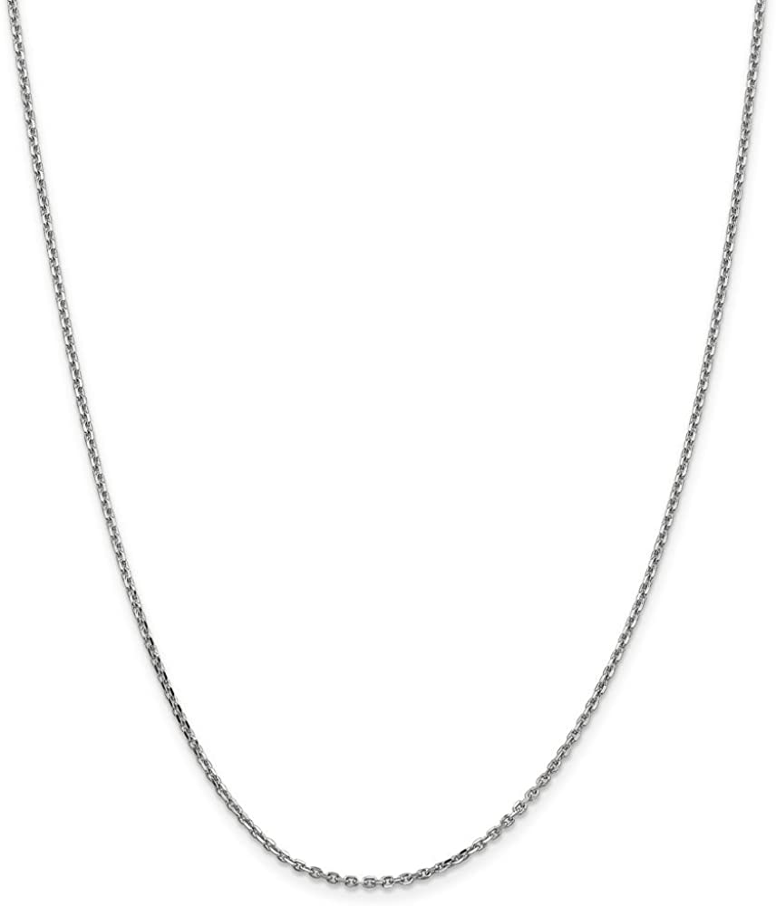 Jewels By Lux 14k White Gold 1.65mm Solid Diamond-cut Cable Chain Anklet