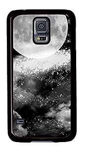 Diy Fashion Case for Samsung Galaxy S5,Black Plastic Case Shell for Samsung Galaxy S5 i9600 with Moon And Stars
