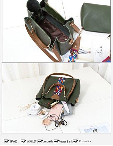 MIMI KING Tote Breite Band Schultertasche Bucket 2 Stück Set Geldbörse Große Kapazität Crossbody Fashion Trend Für Frau Green