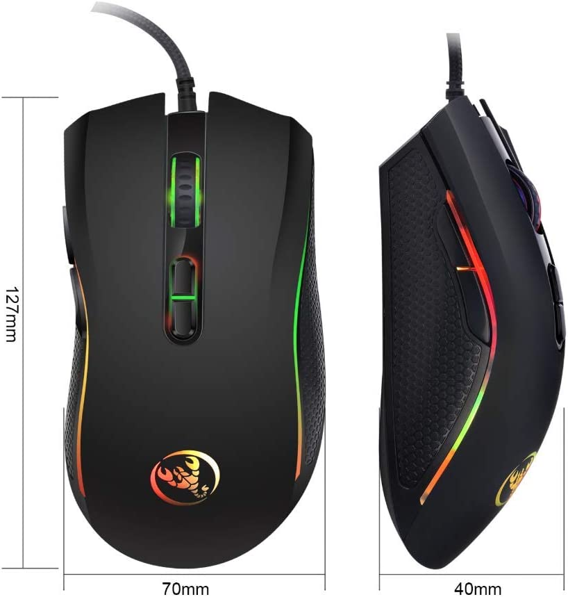 Suitable for Games and Office 4-Level Adjustable DPI Wired Mouse LED Backlight High-end Optical Professional Gaming Mouse Comfortable Touch