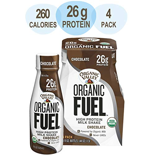 Organic Valley Chocolate Milk Protein Shake, Healthy Snacks for Post Workout Recovery, Organic Fuel High Protein 26g, 11oz (Pack of 4)