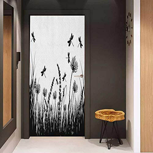 - Onefzc Door Wallpaper Murals Nature Grass Bush Meadow Silhouette with Dragonflies Flying Spring Garden Plants Display WallStickers W36 x H79 Black White