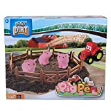 Play Dirt Pig Pen - Unique Play Dirt for Burying and Digging Fun - Includes Dirt, Pigs, Fence, Tractor, and Play Mat