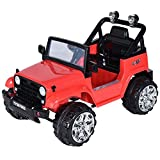 remote car motor - Costzon Kids Ride On Jeep Truck Car 12V Remote Control Vehicle with Twin Motor LED Lights Music MP3 (Red)