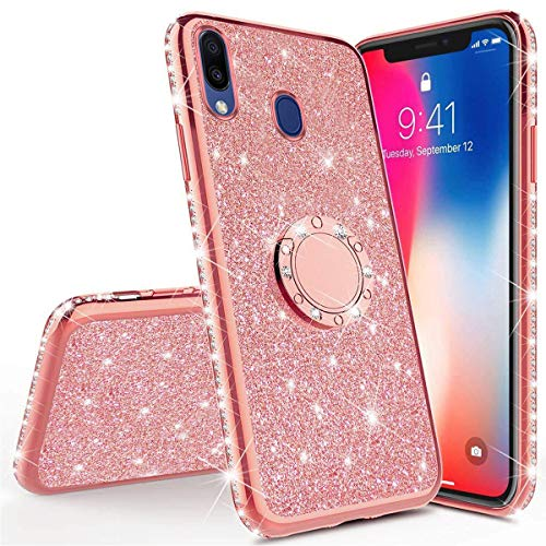 PHEZEN Compatible with Samsung Galaxy A10 Case,Bling Glitter Sparkle Crystal Diamond Rhinestone Bumper TPU Rubber Silicone Cover Phone Case with Ring Kickstand for Samsung Galaxy A10,Rose Gold