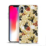 MAYCARI Fashion Cute Bee Printed Clear Design Case for iPhone X/iPhone Xs, Soft TPU Bumper Protective Case Cover for Girls Women