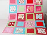 Handmade Traditional Quilt for Sale, Polka Dot Heart Bears Animal Blanket, Nurser Bedding