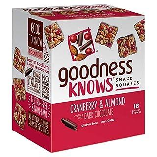 goodnessKNOWS Cranberry, Almond & Dark Chocolate Bars l Healthy Snack Squares l Gluten Free, Non GMO Snack Bars for On The Go l 18 Count