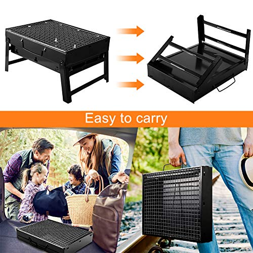 UTTORA Barbecue Grill, Portable Folding Charcoal Barbecue Desk Tabletop Outdoor Stainless Steel Smoker BBQ for Picnic Garden Terrace Camping Travel 15.35\'\'x11.41\'\'x2.95\'\'