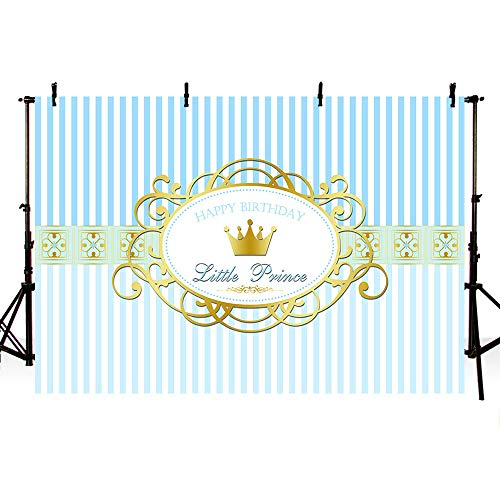 (MEHOFOTO Little Prince Happy Birthday Photography Studio Backgrounds Party Decorations Light Blue Stripes Crown Boy Birthday Banner Photo Backdrops Supplies 7X5ft)