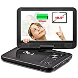 "Electronics : DR.J 5 Hours 10.5"" Swivel Screen Portable DVD Player with Built-in Rechargeable Battery and USB/SD Card Reader, 5.9ft/1.8M Car Charger & Battery Adapter"