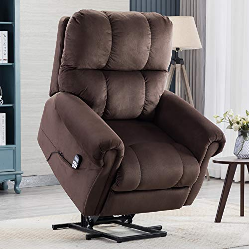 CANMOV Power Lift Recliner Chair with Heat & Massage for Elderly, Heavy Duty Reclining Chair with Contemporary Overstuffed Arms and Back, Chocolate