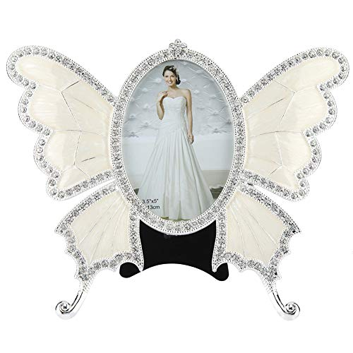 6 Crystal Pearl Photo Picture Frame Diamond Bowknot: Photo Frame Crystal Pearl Diamond Bowknot