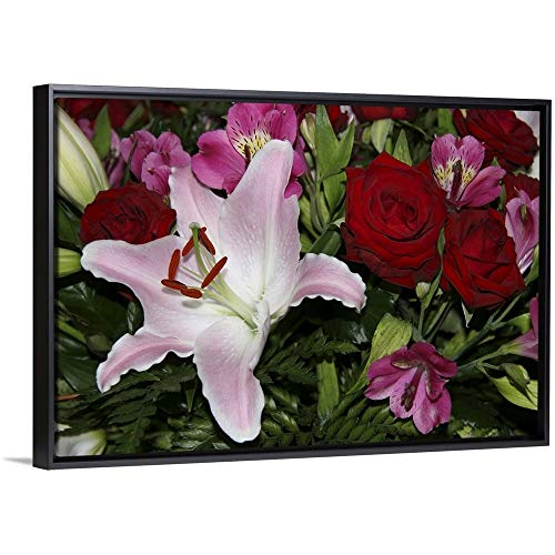 (Marilyn Parver Floating Frame Premium Canvas with Black Frame Wall Art Print Entitled Full Frame of Flower Arrangement Including red Roses and a Rubrum Lily 30