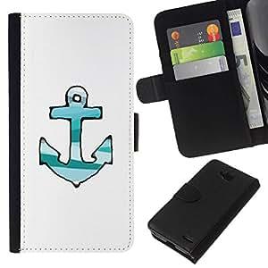 All Phone Most Case / Oferta Especial Cáscara Funda de cuero Monedero Cubierta de proteccion Caso / Wallet Case for LG OPTIMUS L90 // Drawn Lines Green Teal White Anchor