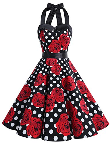 Dressystar Vintage Polka Dot Retro Cocktail Prom Dresses 50's 60's Rockabilly Bandage Black White Rose L