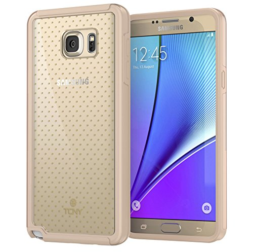 True Color Case Compatible with Samsung Galaxy Note 5 Polka Dots Case, Mini Polka Dot Printed on Clear Hybrid Cover Hard + Soft Slim Thin Durable Protective Shockproof TPU Bumper Cover - Gold ()