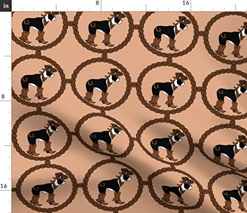 Spoonflower Boston Terrier Fabric - Dog Cowboy Western for sale  Delivered anywhere in USA