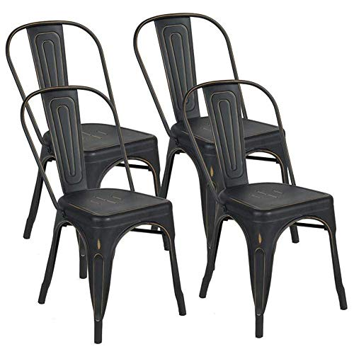 Metal Dining Chairs Distressed Style,BONZY HOME Stackable Side Chairs with Back, Indoor Outdoor Use Chair for Farmhouse, Patio, Restaurant, Kitchen, Set of 4(Golden Black)