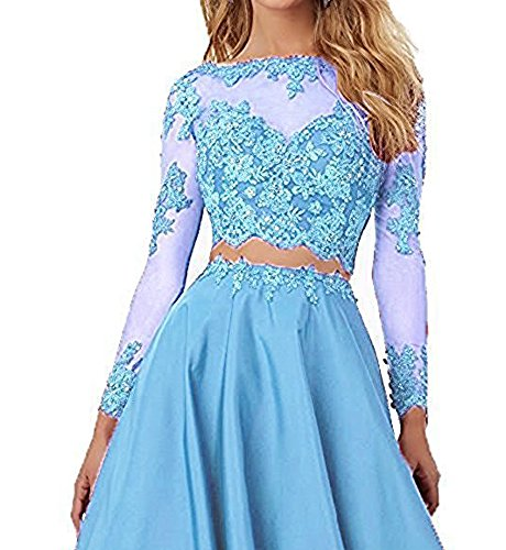 BessDress Lace Short Homecoming Dresses Long Sleeve Short Prom Ball Gown BD184