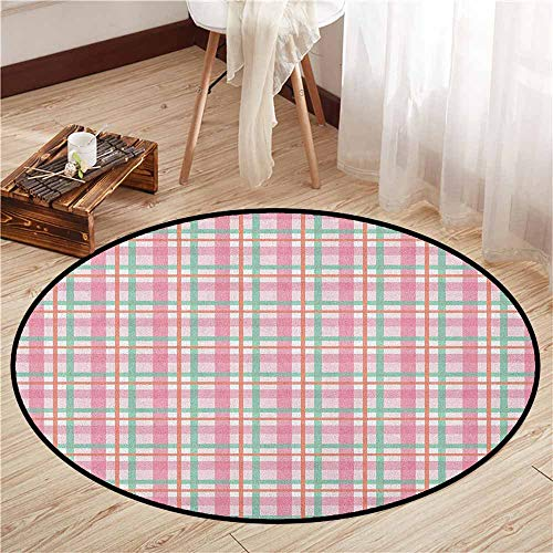 Pet Rugs,Abstract,Pastel Colored Checkered Tartan Pattern with Geometric Stripes Print,Door Floor Mat for Bedroom,3'7