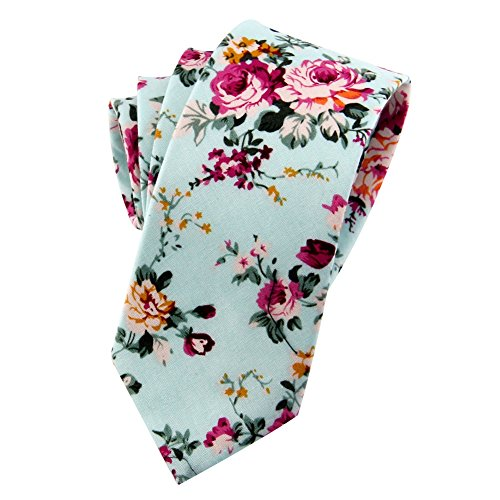 Mantieqingway Men's Cotton Printed Floral Neck Tie 013 (Wool Flower Neck Sweater)
