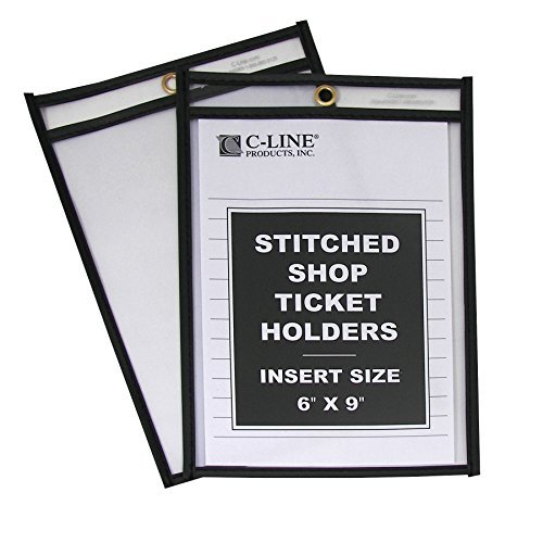 C-Line Stitched Shop Ticket Holders, Both Sides Clear, 6 x 9 Inches, 25 per Box (46069) by C-Line