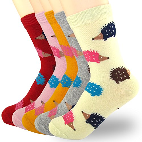 XSBQBC Women's Cute Cartoon Hedgehog Animal Casual Cotton Crew Socks Pack of 5 (Hedgehog) -