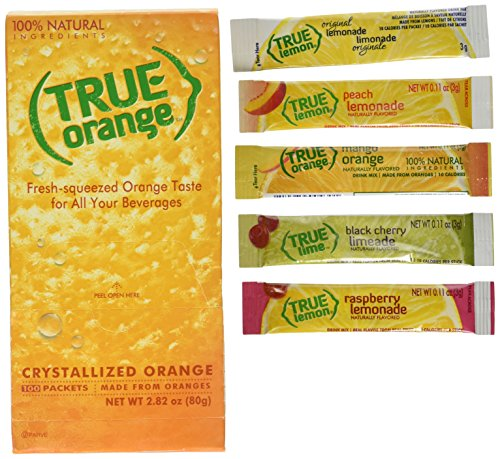True Orange Dispenser Pack 100ct. Plus 5 Lemonade sticks of True Lemon Lemonade, Peach, Raspberry, Black Cherry, & Orange Mango. Natural Flavored Water Enhancer.