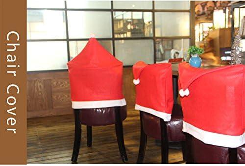 Innovalight Juego Fundas de Silla Navidad Gorro de Papa Noel Rojo Liso Decoracion de Navidad Pack 6 Piezas: Amazon.es: Hogar